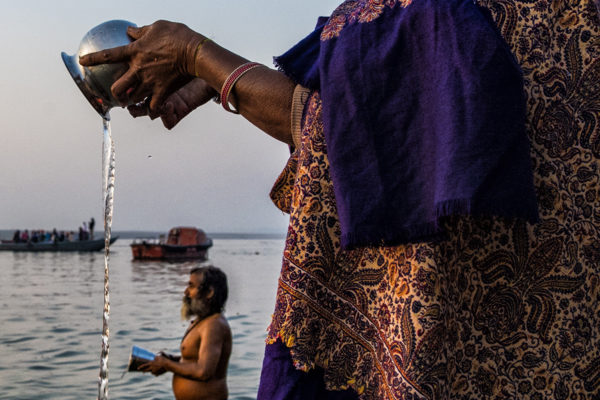 ritual on the river in india